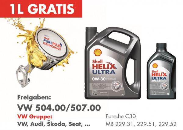 5+1 Shop Angebot - Shell Helix Ultra ECT C2/C3 0W-30 - (5 Liter kaufen - 1 Liter gratis)